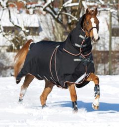 Rambo Optimo Turnout Black and Orange by Horseware