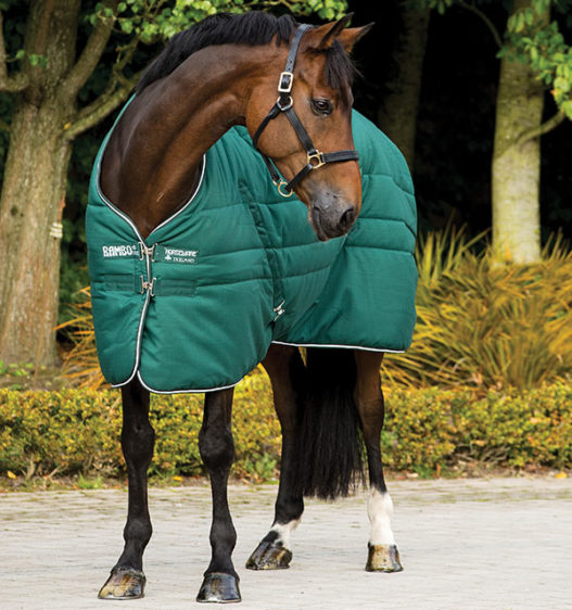 Rambo Stable Blanket with Nylon Lining Hunter Green by Horseware
