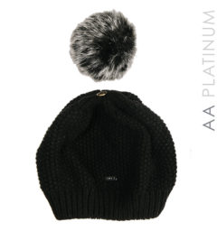 Wool Pom-Pom Hat - Black