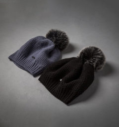 Wool Pom-Pom Hat - Aviation Blue & Black