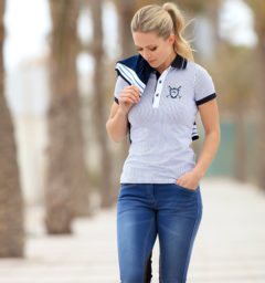 Adalie Summer Denim Ladies Breeches Knee Patch