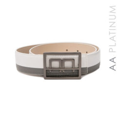 Bi-color Leather Belt grey/white