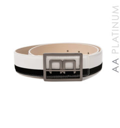 Bi-color Leather Belt black/white