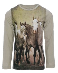 Girls Long Sleeve Horse Print Top