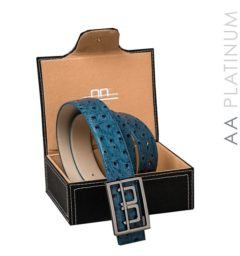 AA Platinum Leather Belt with Box Aviation Blue