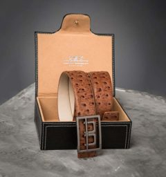 AA Platinum Leather Belt with Box Tan