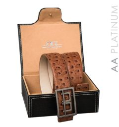 AA Platinum Leather Belt with Box