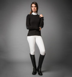 Pistoia Crew Neck Sweater with Zip - Black by Horseware