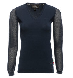 AA Ladies Sweater with perforated sleeves, navy