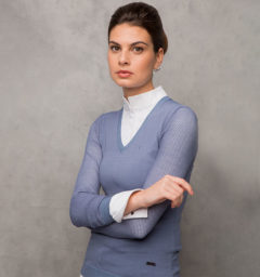 Ladies Sweater with Perforated Sleeves