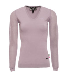 AA Ladies Sweater with perforated sleeves, antique plum