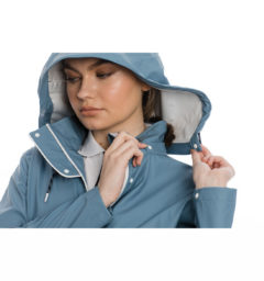 Linny Long Rain Jacket, Blue Heaven, hood view