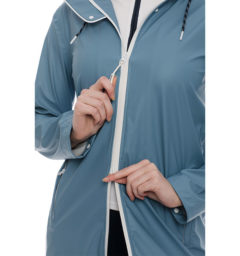 Linny Long Rain Jacket, Blue Heaven, zipper close up
