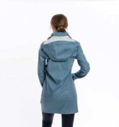 Linny Long Rain Jacket, Blue Heaven, back view