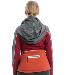 Eliza Waterproof Softshell, Charcoal/Redwood, back