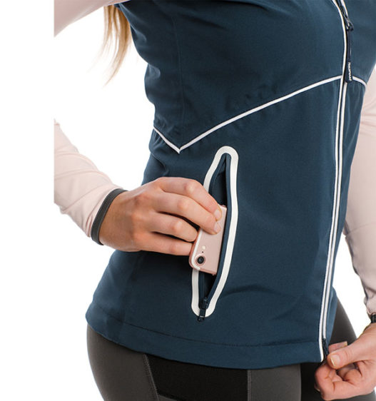 Eliza Waterproof Softshell Vest, Navy, detail view