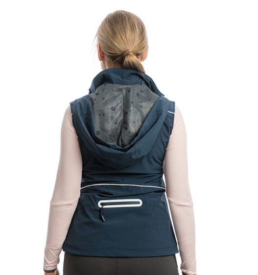 Eliza Waterproof Softshell Vest, Navy, back view