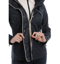 Karlie Waxed Jacket, Navy, zipper detail