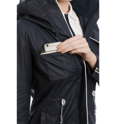 Karlie Waxed Jacket, Navy, pocket detail