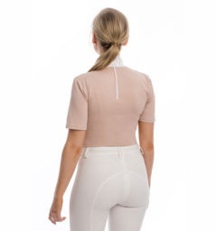 Lisa Technical Competition Top, Short Sleeves, Blush with Riding Tights, White