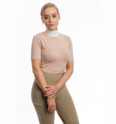 Lisa Technical Competition Top, Short Sleeves, Blush with Riding Tights