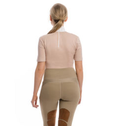 Lisa Technical Competition Top, Short Sleeves, Blush with Riding Tights, back view