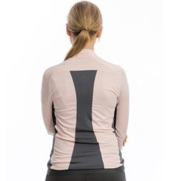 Lane Technical Full Zip Top, Rosewater/Charcoal back view
