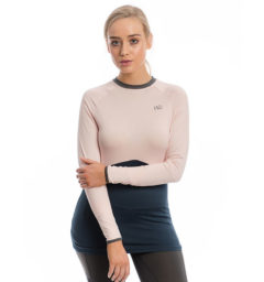 Jade Crew Neck Base Layer, Rosewater/Navy