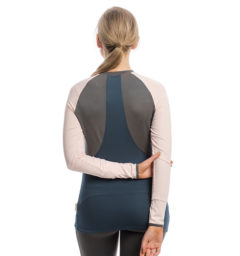 Jade Crew Neck Base Layer, Rosewater/Navy, back View