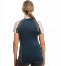 Aveen Technical Short Sleeve Top, Navy/Rosewater, back view