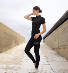AA CleanCool Ladies Short Sleeve Top, black with AA Ladies Silicon Breeches, Black