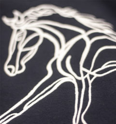 Flamboro hoody detail horse embroidery