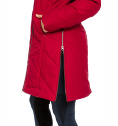 Long line jacket red size zip detail