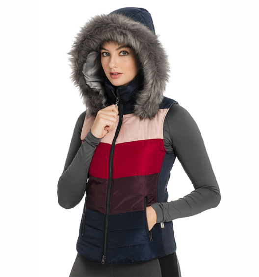 Aria Vest front view with hood