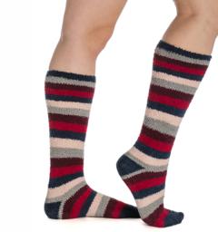 Softie Socks Red/Grey/Navy Ladies