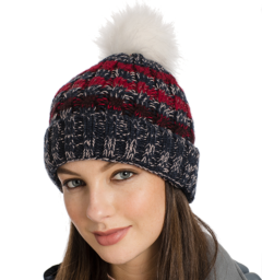 Knitted hat navy stripe