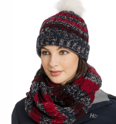 Knitted hat and snood navy stripe