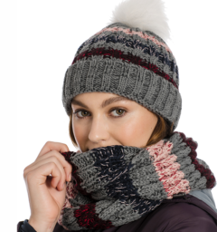 Knitted hat and snood grey stripe